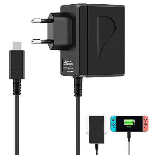 Nintendo Switch AC Adapter, Switch Lite Adapter, 15V 2.6A Caricatore Nintendo Switch Alimentatore PD Tipo-C Adattatore Carica Rapida Per Switch Nintendo Supporta la modalità TV e la Docking Station