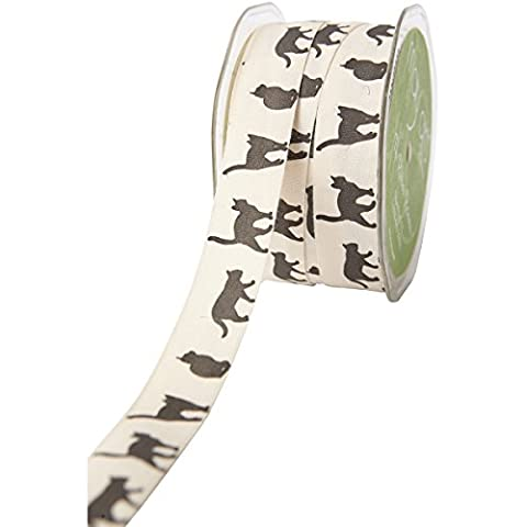 "Ivory Print Ribbon 3/4""X30yd-Cat Silhouette"