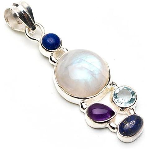 stargems (TM) naturale arcobaleno pietra di luna, ametista, topazio blu e Lapis Lazuli stile punk ciondolo in argento Sterling 9252