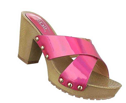 Damen Sandalen Schuhe Pantoletten Schwarz Pink