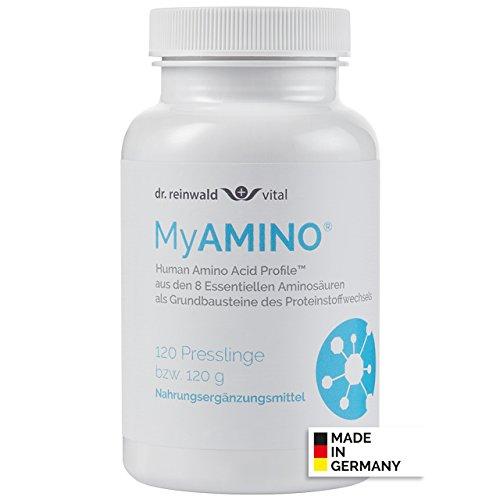 dr.reinwald MyAMINO - 8 essentielle Aminosäuren als Grundbaustein des Eiweiß-Stoffwechsels - Mit dem höchsten Proteinnährwert weltweit - 100% pflanzlich - 120 Presslinge -
