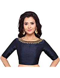 065a7d88b54 STUDIO SHRINGAAR WOMEN S NAVY BLUE POLY RAW SILK HAND EMBROIDERED READYMADE  SAREE BLOUSE
