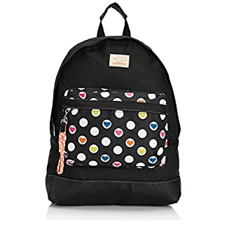 Rocket Dog Olive Casual Daypak Rucksack / Backpack for teenage girls in Black with Love Spots 16