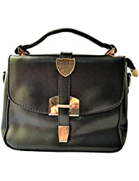 TagInStyle Women's Genuine Leather Black Sling Bag (15 X 17 Cm)