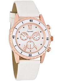 Ferretti Mujer FT12202 | Reloj analógico para mujer oro rosa, cuero color blanco