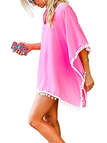 Da donna Chiffon Pom Pom Kaftan Costume da bagno Spiaggia Copricostumi e parei Cover Up Rosa chiaro