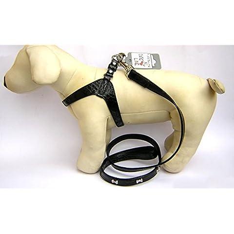 Pettorina Cane Dog Line pelle Nero Tg S (33 cm Ø torace)+ Flexi New Classic Nero S Fettuccia 5 m