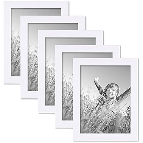 Juego de 5 marcos 15x20 cm blancos, modernos, madera maciza con cristal y accesorios / marco de fotos