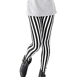 Guiran Leggings Skinny Pantalones Lápiz Elásticos Pantalón A Rayas Largo Pants Leggins para Mujer Cepillado Leche Talla única