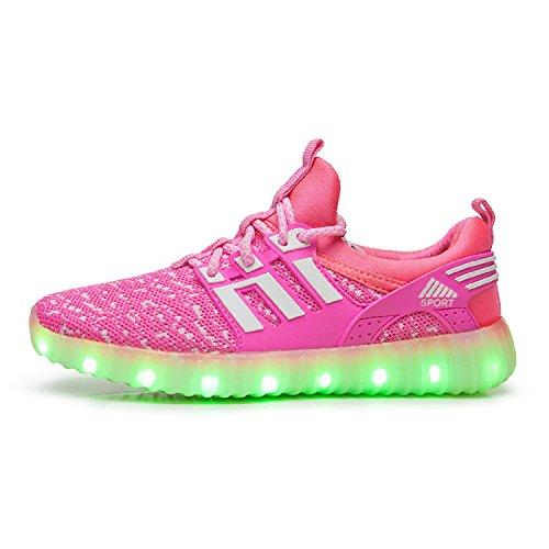 Unisex - Kinder LED Turnschuhe 7 Farbe USB Aufladen Leuchtend Sportschuhe Jungen Mädchen LED Farbwechsel Sneaker Rosa