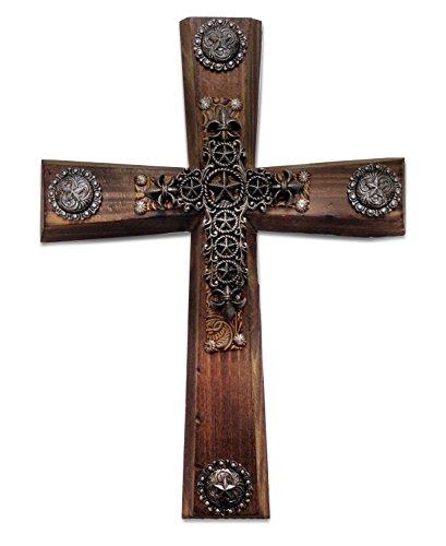 n Holz Kreuz mit Star Kreuz Overlay ()