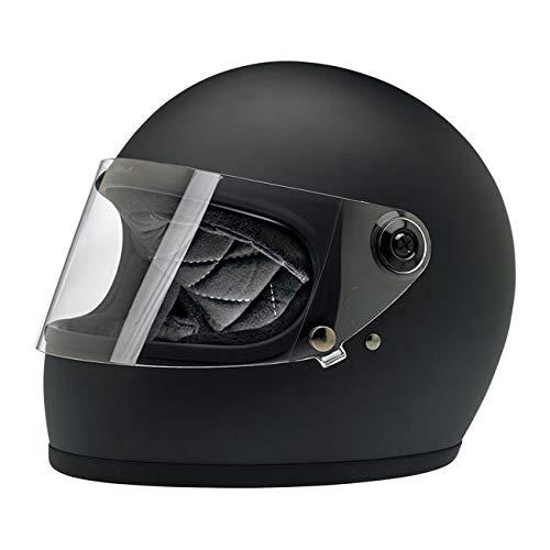 Casco Integral Gringo S biltwell Negro Mate Flat Black homologado Doble homologación ECE (Europa) & Dot (América) Helmet Biker Custom Vintage Retro año 70 M Negro
