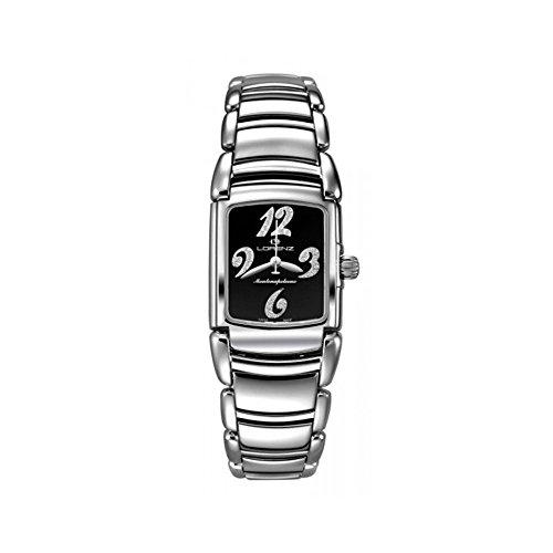 Reloj LORENZ Montenapoleone números con diamantes esfera negro mujer acero 025748bb
