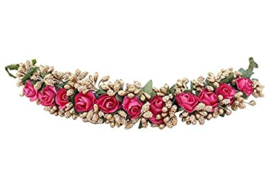 Women's Pink Fabric Juda Maker Flower Gajra Hair Accessory