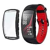 Chofit Custodia Protettiva per Gear Fit 2 PRO, in Morbido Poliuretano termoplastico, Compatibile con Samsung Gear Fit 2 PRO Fitness Tracker (Nero)