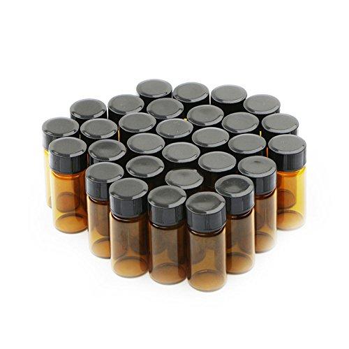 30pcs 5ml marrón botellas de vidrio con tapón de rosca de plástico negro vacío viales tarros de muestra
