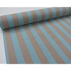 Confección Saymi Metraje 2,45 MTS Tejido loneta Estampada Ref. Rayas 40 Azul Culla, con Ancho 2,80 MTS.