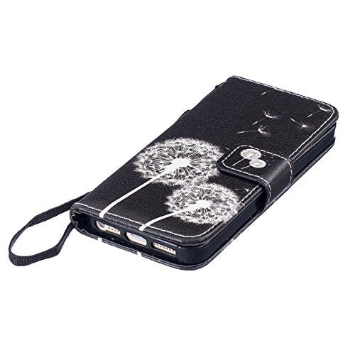 Custodia iPhone 5S,SainCat Custodia in pelle Protettiva Flip Cover per iPhone SE,Anti-Scratch Protettiva Caso Elegante Creativa Dipinto Pattern Design PU Leather Flip Ultra Slim Sottile Morbida Portaf dente di leone
