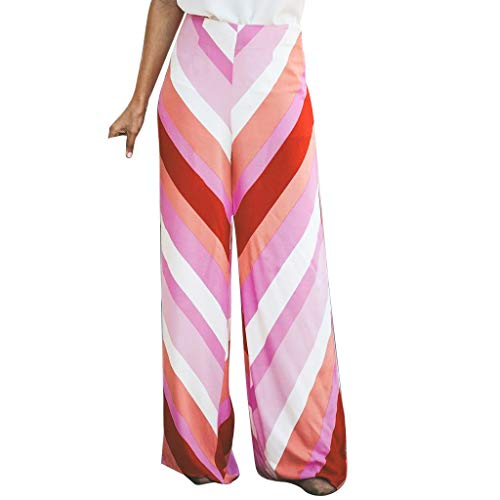 Plus Size Stretch Twill-capri (WOZOW Weites Bein Palazzo Hosen Damen Colorful Streifen Gestreift Patchwork Lose Loose Swing Pyjama High Waist Casual Elegant Extra Lang Long Trousers (XL,Red))