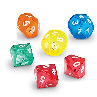 Learning Resource 10 Sided Dice in Dice - Set 6x 2.5cm Maths Dice by Learning Resource