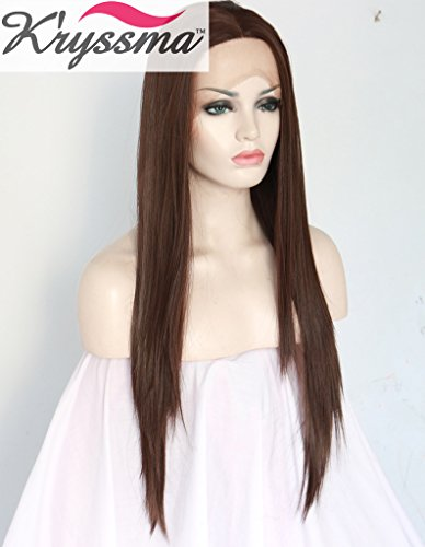 K'ryssma Natural Looking Long Brown Straight Wigs for Women Realistic Soft Hair Synthetic Lace Front Wig UK High Quality Half Hand Tied Heat Resistant Fiber 22 inches