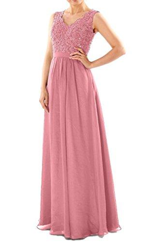 JAEDEN Damen Chiffon A Linie Ballkleider Lang Spitze Brautjungfernkleid Abendkleid Festkleid Blush