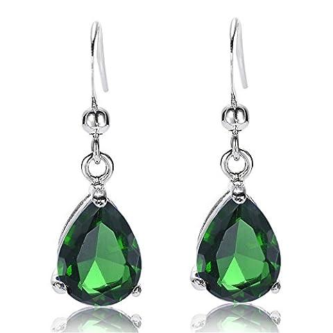 Rizilia Jewellery Pear Cut Tanzanite Color Gemstones Fine CZ 18K White gold Plated Dangle Earrings Simple Modern Elegance [Free Jewelry