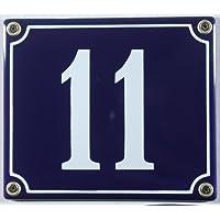 Esmalte Hausnummernschild - a elegir su número - los números de 1 - hasta un máximo de 30 disponible en colour azul/blanco 12 x 12 cm y 12 x 14 cm - envío inmediato! El número de placa de resistente a la intemperie y a la luz de la piel, 11 blau/weiß 12x14cm