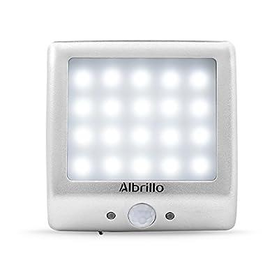 Albrillo LED Wall Light, LED Luxury Aluminum Motion Sensor Night Light with Built-in Battery