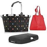 reisenthel Exklusiv-3er-Set: carrybag PLUS cover PLUS mini maxi shopper (dots - black - red)