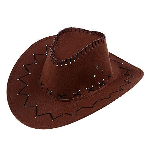 Hut Cowboy Western Kostüm - AcserGery Cowboyhut Westernhut Kostümzubehör Western Wildlederoptik Cowboy-Hut (opfbedeckung zu Karneval, Fasching, Halloween, Mottopartys) (Braun)