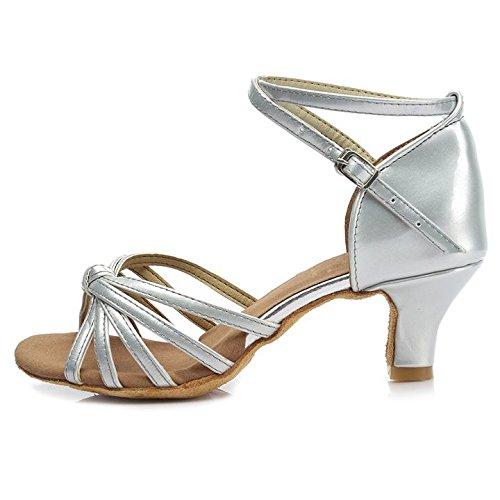 HROYL Damen Tanzschuhe/Latin Dance Schuhe Satin Ballsaal Modell-D7-217 5CM Silber