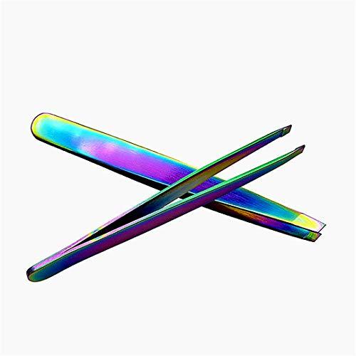 1pc en acier inoxydable Brucelles Sourcils Slant Tip brucelles plumaison sourcils outils de beauté, pince à sourcils bouche Oblique