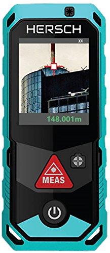 HERSCH LEM 150 Laser Entfernungsmesser (Messbereich 0,05-150 m, Bluetooth + App, digitaler 4-fach Zoom, drehbares Farbdisplay mit Touchscreen, 3D Messung, Neigungssensor, Ni-MH Akku, IP65 Schutzklasse) 841923