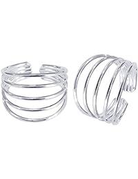 Eloish Sterling Silver Pair of Beautiful Toe Rings. Pretty 5 Line Toe Rings