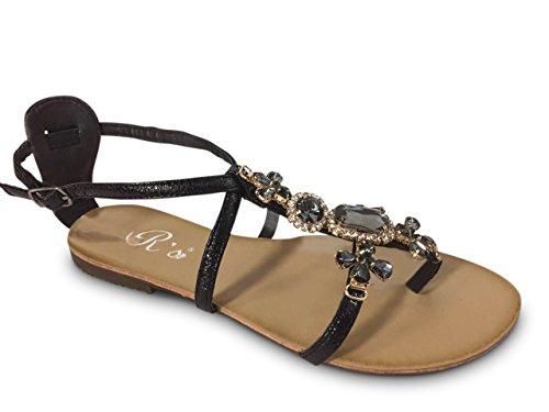 Damen Zehentrenner Sandalen Glitzer Nieten Sandaletten ST561 Schwarz