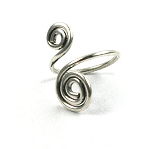 Solid Silver 925 Handmade Adjustable 1.5mm Wire Spiral Wrap Toe Ring