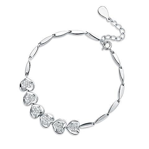 JiangXin Women's Bracelet Sterling Silver Sparkling Zirconia White Gold Plated Bridal Fine