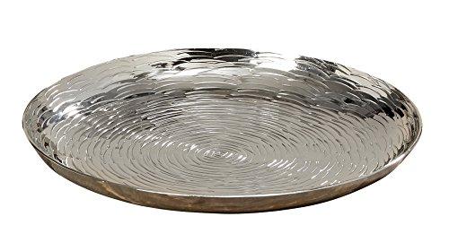 Casablanca 1 x Deko-Teller Ties Ø 33 cm Aluminium Silber, Tischdeko, Geschenk (groß Ø 33 cm (Stückpreis))