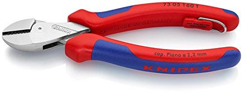 KNIPEX 73 05 160 T X-Cut® Kompakt-Seitenschneider mit Befestigungsöse verchromt mit Mehrkomponenten-Hüllen, mit integrierter Befestigungsöse zum Anbringen einer Absturzsicherung 160 mm