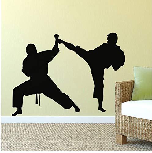 Karate Kick Defense Wandaufkleber Vinyl Taekwondo Studio Decoration Home Decor Entfernbare Wandtattoos Für Jugendliche Zimmer Wandbild 55X40 cm, Schwarz
