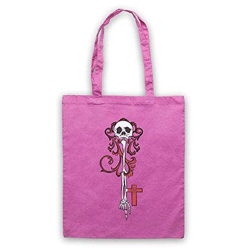Skeleton Key Gothic Illustration Umhangetaschen Rosa