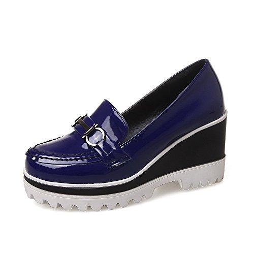 AgooLar Damen Rein Lackleder Hoher Absatz Rund Zehe Ziehen Auf Pumps Schuhe Blau