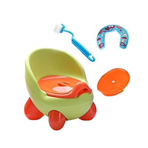 Baby Stepstool Toilet Training Seat Creative Potty Traning + Toilet Brush, Lid and Pad,Green
