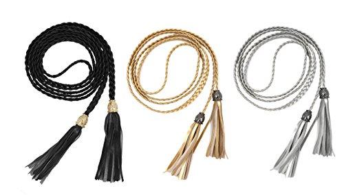 TeeYee Mujeres PU cuero exótico tejido cintura cinturón cuerda cadena con  borla (negro 948a0758c641