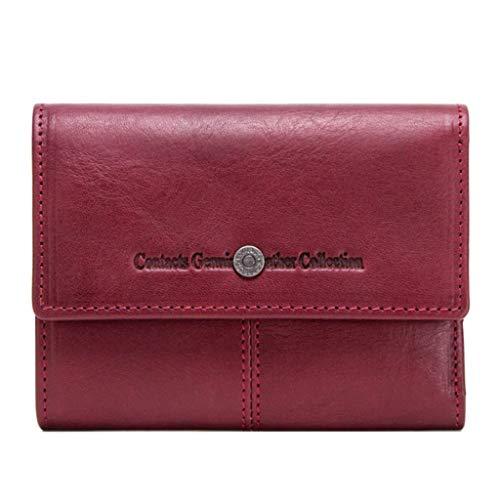 Dream Tissa Frauen lange Abschnitt Wallet Card Package Vintage Buckle Leder Clutch (Color : Red, Size : 12 * 3.5 * 9.5)
