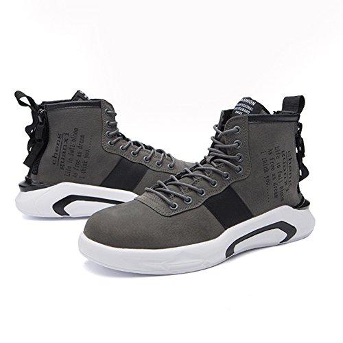 Feifei Chaussures Antidérapantes Pour Hommes High Help Casual Sneakers 3 Couleurs (couleur: Noir, Dimensions: Eu39 / Uk6.5 / Cn40) Gris