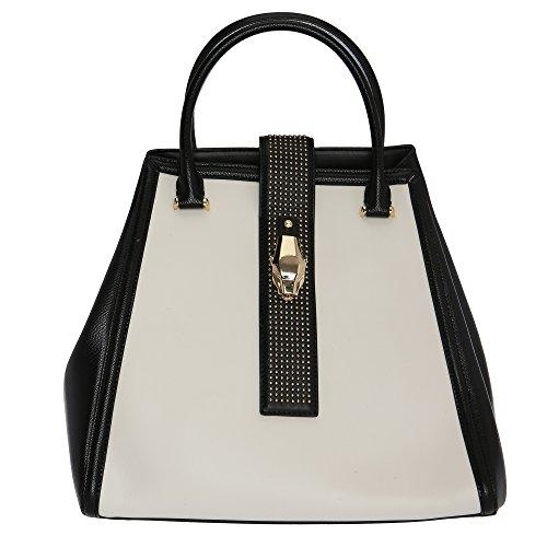 Roberto Cavalli Class Frau Handtasche mit Schultergurt 31.5x27x20 Cm Mod. C62PWCLM0052B20 Weiß Schwarz