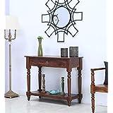 Sarswati Furniture Sheesham Wood Console Table for Living Room | 1 Drawer & 1 Shelf Storage | Walnut Brown Finish