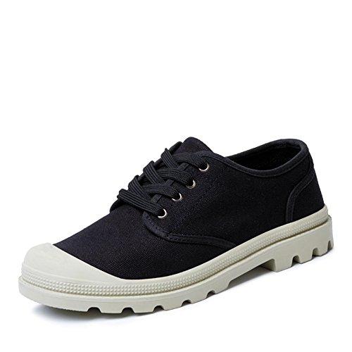 Scarpe Uomo Sneakers Mezza Lunghezza Scarpe Di Tela Lace Up Nero 40 Caldo